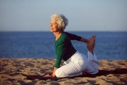 older woman yoga life expectancy