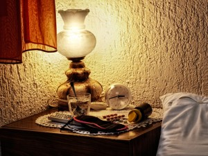 bedside table, lamp, accessories