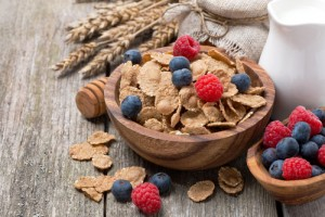 bowl of wholegrain cereal and fruit