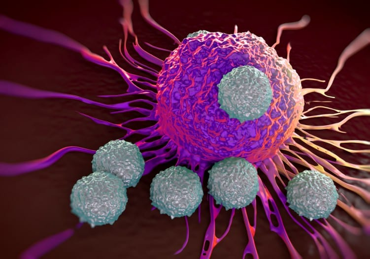 Blood T-cells attacking cancer