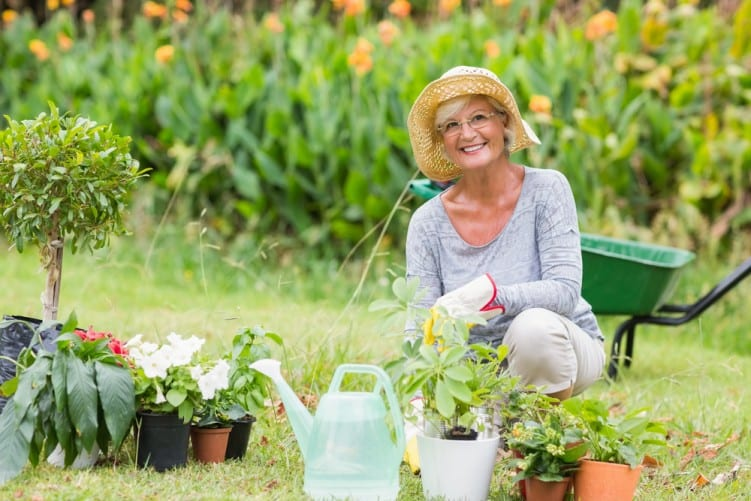 Gardening older lady