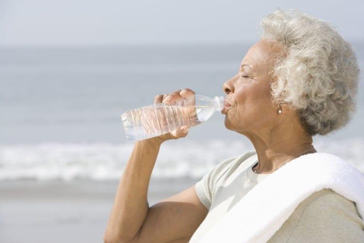 Water lady drinking bottle